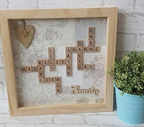 Personalised 12x12 framed scrabble art for Handmade wall frames ideas