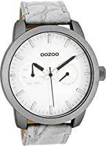 Oozoo Herrenuhr mit Lederband 46 MM Weiss/Grau C8255