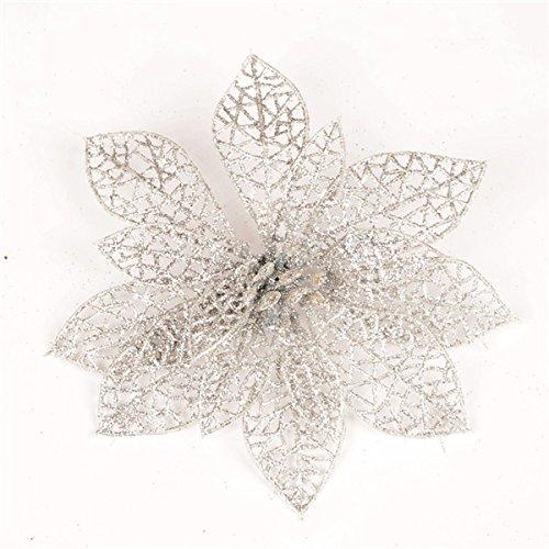 Bluelover 10Pcs Weihnachtsguss-Glühwürfchen-Blumen Für Die Weihnachtsbäume Neujahrsdekoration Hochzeits-Party-Dekoration - Silber