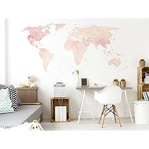 Pegatina de pared Salón Mapa del mundo en acuarelas blandas y claras Continentes para encolado tierras molido globo terráqueo naipe bordadoras es