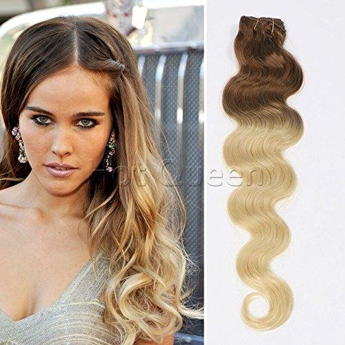 Hotquee brésilien ondulés Clip en cheveux humains 7 pcs/lot de couleur Ombre T # 6/22/60 extension de cheveux