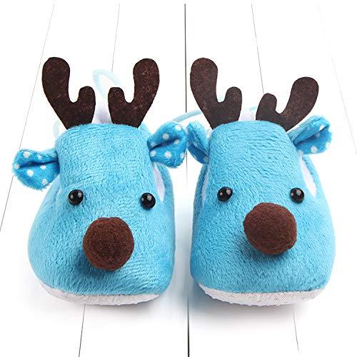 Tolles Geschenk Weihnachten Baby Prewalker Elch Shaped Schuhe Weihnachtsgeschenk Niedlichen Plüsch Schuhe für Säugling Babys Kleinkind (Farbe : Blau) Elk Schuhe