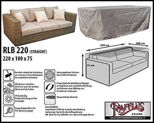 RLB220straight Hülle für Lounge Bank, Rattan Gartensofa oder Lounge Sofa, 2 - 3 Personen, passt am...