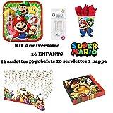 Kit Super Mario 16 Enfants Complet Anniversaire (16 Assiettes, 16 gobelets, 20 Serviettes, 1 Nappe + 10 Bougies Magiques) fête Garcons Filles