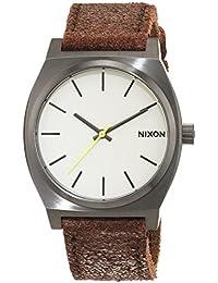 Nixon Unisex-Armbanduhr The Time Teller Gunmetal / Brown Analog Quarz Leder A0451388-00