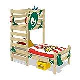 WICKEY Spielbett CrAzY Octopus Kinderbett 90x200 Einzelbett aus Holz mit Spielpodest für Jungen und Mädchen mit Lattenboden, grün