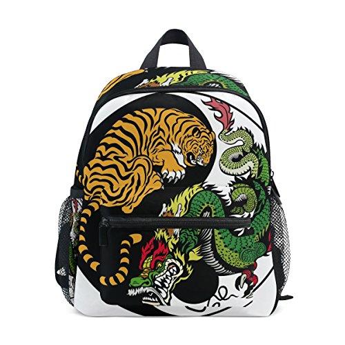 COOSUN Yin Yang Dragón y Tigre Kinder Símbolo Mini Mochila Kids Pre-School Bolsa Niño Multicolor