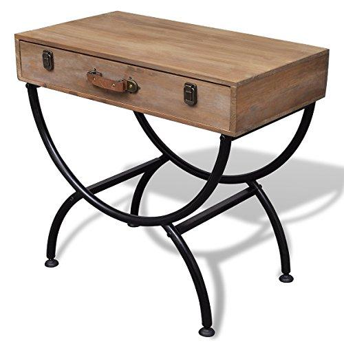 VidaXL Shabby Chic-Tavolino con cassetto, in legno