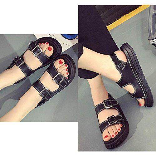 Eastlion Sommer Magie Aufkleber Römische Sandalen Frauen Flache Unterseite Einfache Bequeme Exponierte Zehe Schuhe Schwarz