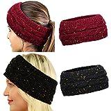 DRESHOW 2 Paires Crochet Turban Bandeau pour les femmes Warm Bulky Crocheted Headwrap