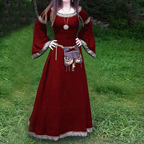 Mitlfuny Karnevalsparty Fancy Festival Zubehör,Frauen mittelalterlichen Kleid Renaissance Fit unregelmäßige Lange Ärmel Cosplay Maxi-Kleid