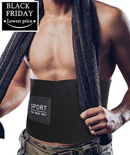Gotoly Neopren Gürtel Sweat Sauna Anzüge Gym für Männer Gewichtsverlust Body Shaper (Schwarz, XL:Länge 128 cm) (Burn-jungen-t-shirt)