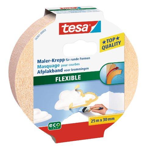 tesa Malerband für Kurven oder Rundungen, flexibel und dehnbar, 25m x 30mm