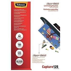 Fellowes  5440101 Super Quick Pochettes de plastification brillantes Capture 125 microns A4 - Pack de 100 Transparent