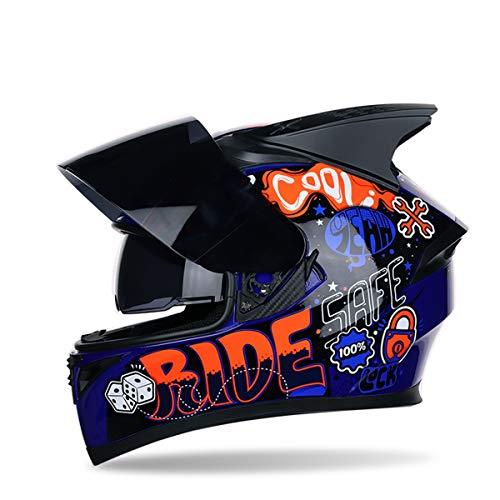 BLLJQ Fullface Helm Nutcase Helmet with Rain Protection Windproof,B,XXL