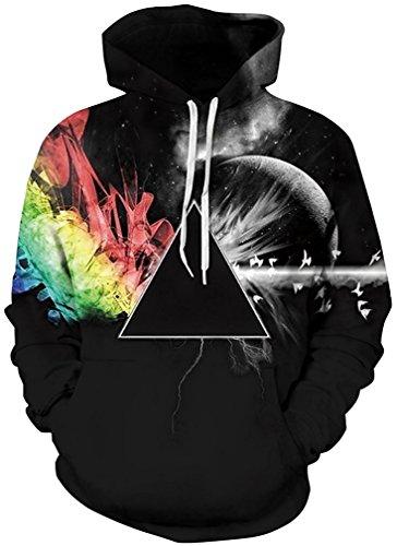 Imbry Herren Slim Fit Hoodie Long Sleeve Kapuzenpullover 3D Druck Muster Sweatshirt Pullover (2XL/3XL, Schwarzes Dreieck)