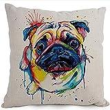 Vovotrade Baumwolle Leinen Cartoon Entzückende Haustier Hunde Mops Wurfkissenbezug Kissenbezug Dekorative Sofa Schlafzimmer Haus Dekoration