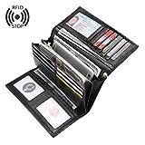 Geldbörse Damen Leder RFID Geldbörse Brieftasche Lang Handy Geldbeutel Frauen Schwarz