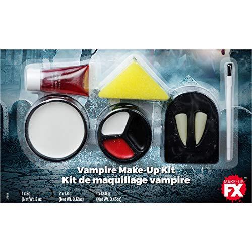 Amakando Horror Schmink-Set Dracula / Weiß-Rot-Schwarz / Gothic Kosmetik-Kit Halloween / Perfekt geeignet zu Mottoparty & Horror-Party