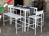 Juego Mesa alto Bar 120x 80con 2bancos y 2taburetes metal blanco de exterior jardín terraza balcón patio Carpa cóctel diseño limpio moderno
