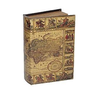 Hohles Buch mit Geheimfach Buchversteck Weltkarte Vintage Antik-Stil Groß