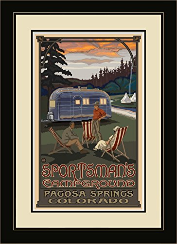 """Price comparison product image Northwest Art Mall PAL-6488 FGDM AIR Sportsman Campground Airstream Trailer Framed Wall Art by Artist Paul A. Lanquist, 16 x 22"""""""