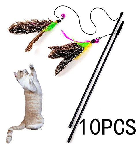 10 PCS piuma volare Cat Teaser Giocattoli Gattino Gatto giocattolo interattivo Plastic Rod con Bell e Feather (Giocattolo piuma con filo) - Cat Rod