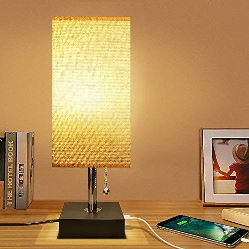 ANNING Nachttischlampe Zylindrisch Minimalistisches Leinen-Schlafzimmerlicht USB Modernes Design Schreibtischlampen Mit Ladeanschluss,Dekorative Schreibtischlampe Ideal Für Wohnzimmer, Kommode Tisch