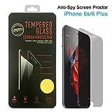 Protector de pantalla de cristal templado antiespías para iPhone 6S/6Plus (compatible con 3D Touch), 0,3mm, dureza 9H, antiarañazos, antihuellas, película protectora sin burbujas, protección de privacidad de 180° en dos sentidos negro negro iPhone 6s Plus Privacy Film