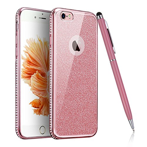 iPhone 6 Plus Hülle,iPhone 6S Plus Bling Case - Felfy Luxe Ultradünnen Weich Silikon TPU Silikon Handy Hülle Schutzhülle Durchsichtig Bling Glitzer Sparkles Shiny Case Kratzfest Bumper Soft Rückseite  Diamant rosa
