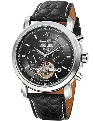 KS Men's Stainless Steel Case Watch Automatic Mechanical Tourbillon Sport Wrist Watch for Men with Leather Strap Date Day Display KS367