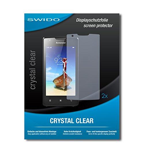 SWIDO Schutzfolie für Lenovo A1000 [2 Stück] Kristall-Klar, Hoher Härtegrad, Schutz vor Öl, Staub & Kratzer/Glasfolie, Bildschirmschutz, Bildschirmschutzfolie, Panzerglas-Folie