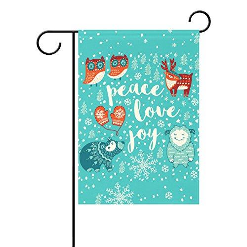 Duble Sided Peace Love Joy Urlaub Winter Tier Eule Hirsch Schaf und Bär in der Schneeflocke Welt Polyester HAUS/Garten Flagge Banner 12x 18/71,1x 101,6cm für Hochzeit Party alle Wetter, Polyester, blau, 12x18
