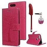 Edauto Huawei P Smart Hülle Case Tasche Eule Baum Muster Kunstleder Brieftasche Wallet Schale Lederhülle Schutzhülle Handyhülle Standfunktion Kartenfach Magnetverschluss Klapphülle Bookstyle Rose Rot