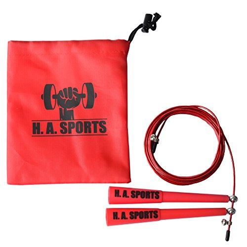 Springseil Speedrope von H.A. Sports für Sport & Fitness | Perfekt geeignet für MMA, Crossfit, WOD, Boxen | Verstellbares High Speed Stahlseil mit Kugellager | 3 Meter Seillänge perfekt für Erwachsene
