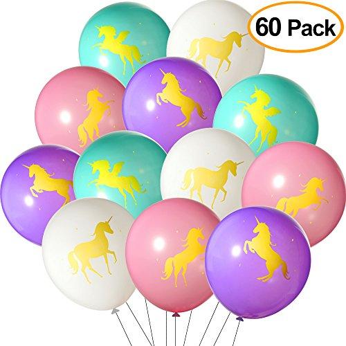 Tuparka 60 Stück Latex Einhorn Ballons, Party Ballons mit gedruckten Gold Einhörner für Einhorn Thema Party, Baby-Dusche, Geburtstag Party Favor Supplies (Pink, Weiß, Lila, Türkis)