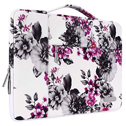 MOSISO Tasche Sleeve Hülle Kompatibel 13-13,3 Zoll MacBook Pro, MacBook Air, Multifunktion Spritzwasserfest Laptoptasche mit zusätzlichem Stauraum Polyester Hülle, Chrysantheme auf Weißer Basis