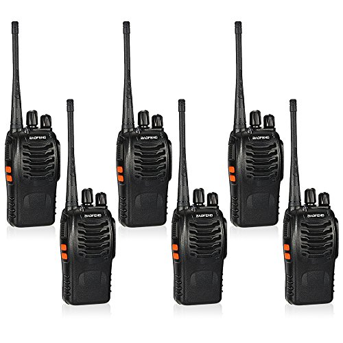 BaoFeng BF-888S 16CH FM UHF 400-470 MHz Talkie Walkie Transceiver 2-Wege-Radio Portable Handheld Interphone Langdistanz 1500mah Akku 6Stück