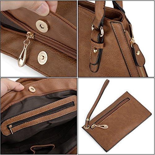 UTO Damen Handtasche Set 2 Stücke Tasche PU Leder Shopper Schultertasche Tasche Geldbörse Gurt Khaki braun