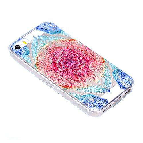 iPhone SE Hülle, Asnlove 2 Stücks Transparent TPU Silikon Schutz Handy Hülle Case Tasche Etui Bumper Buntes Muster für Apple iPhone 5 5S SE Case Cover - Lace Blumen, blaue Blätter Color-3