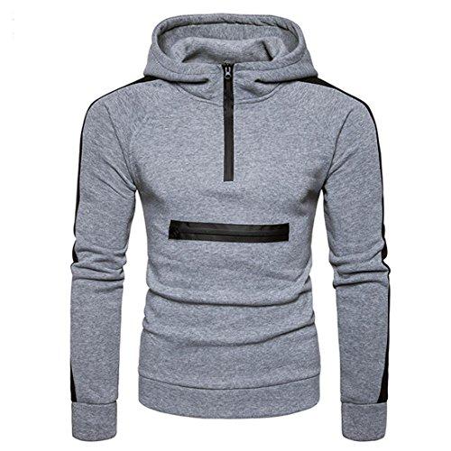Preisvergleich Produktbild Herren Sweatshirt Zipper Btruely Herbst Winter Sport-Pullover Männer Mit Kapuze Slim Kapuzenpullover Warm Outwear Retro Jacket (L,  Grau)