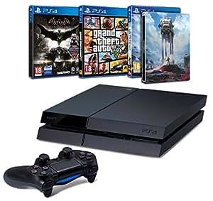 PlayStation 4 500 Go + Batman Arkham Knight + Star Wars Battlefront + Steelbook + GTA V