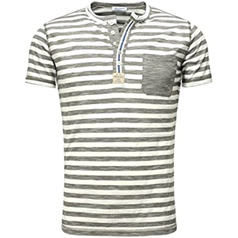 Key Largo T-shirt PABLO Vintage Busque Delgado Fit Sección con Bolsillo en el pecho Botones Cierre de estudios Sommershirt Printshirt Endeble Rayado cuello