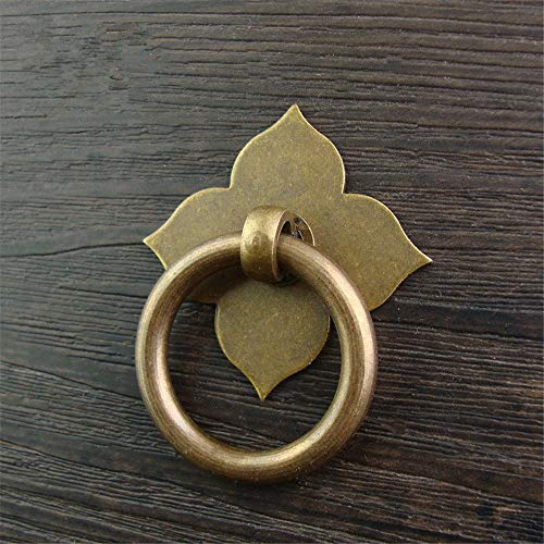 Lisansang Türklopfer 5 X Retro Vintage Antike Bronze Messing Zieht Traditionellen Chinesischen Stil Messinggriffe Material Kleinen Tropfen Ring Griffe for Holzmöbel Schubladentür