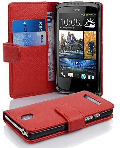 Cadorabo Hülle für HTC Desire 500 Hülle in Inferno Rot Handyhülle mit Kartenfach aus Struktriertem Kunstleder Case Cover Schutzhülle Etui Tasche Book Klapp Style Inferno-Rot