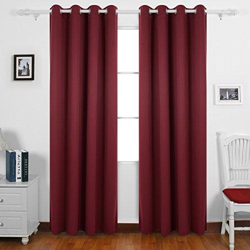 Deconovo tende oscuranti termiche isolanti tende da sole con occhielli per casa moderna 140x290 cm rosso scuro 2 pannelli