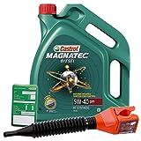 5 L Liter Castrol Magnatec Diesel 5W-40 DPF Motor-Öl Motoren-Öl inkl. Castrol Ölwechsel-Anhänger und Einfülltrichter