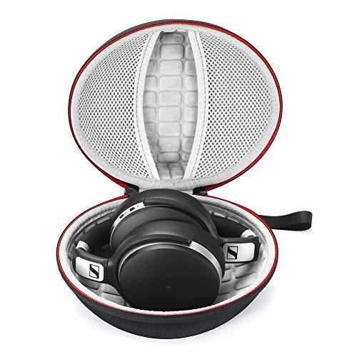 Estuche rígido para Sennheiser HD 4.40 BT/HD 4.50 BTNC Auriculares inalámbricos con Bluetooth, Bolsa de Almacenamiento de Viaje Que Lleva - Negro (Forro Gris)