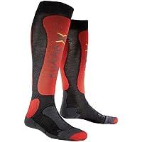 X-Socks - Calcetines de esquí, tamaño 45-47, color gris/rojo