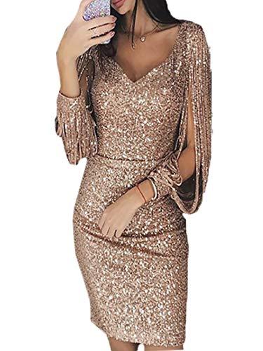 GARYOB Damen Abendkleider Sexy V-Ausschnitt Cocktailkleid Glänzend Hoch Maxikleider Dress für Hochzeit Festlich